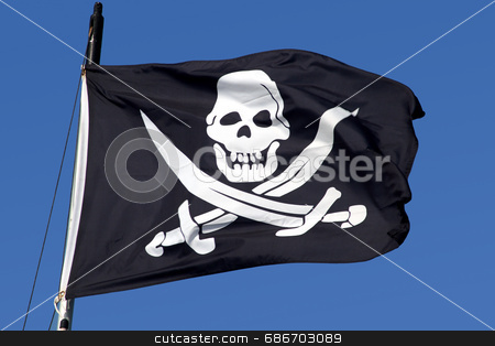 A pirate ship flag. stock photo, A pirate ship flag. by Stephen Rees