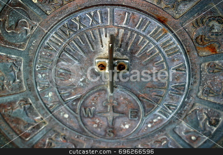 Sundial stock photo, Sundial in the courtyard at the Sun Buenaventura Mission in Ventura by Henrik Lehnerer