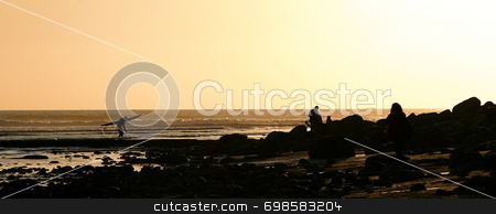 Days End stock photo, A day is ending at the beach at Vantura California by Henrik Lehnerer