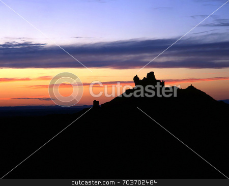 Angel Peak stock photo, A desert mesa silhouetted at sunset. by Mike Norton