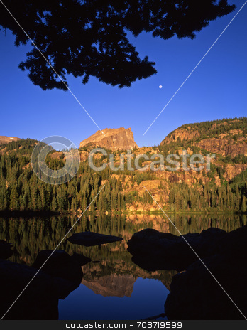 Bear Lake & Full Moon stock photo, Bear Lake, in Rocky Mountain National Park, Colorado, and the full moon. by Mike Norton