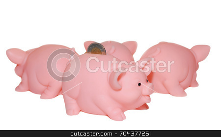 Multiply Your Savings stock photo, A Group of Pink Piggy Banks: conceptual image by J. Gracey Stinson