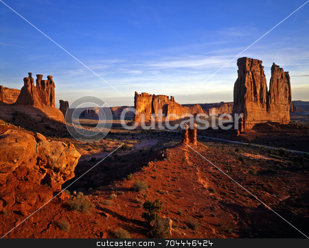 Courthouse Wash stock photo, Courthouse Wash in Arches National Park, Utah. by Mike Norton