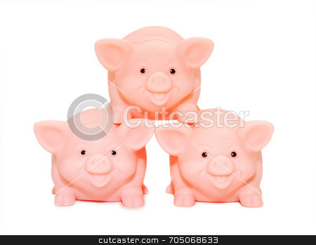 Success in Teamwork stock photo, Three piggy banks working together. by J. Gracey Stinson