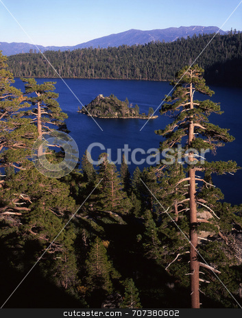 Emerald Bay Island stock photo, An island in Emerald Bay, part of Lake Tahoe in California. by Mike Norton