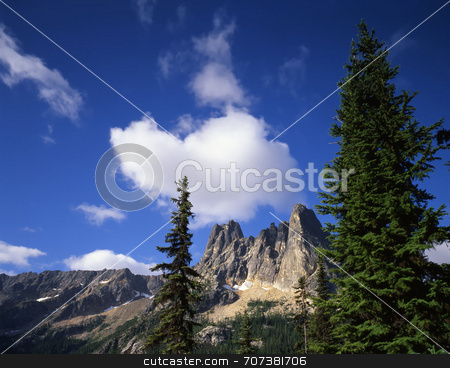 Liberty Bell mountain stock photo, Liberty Bell Mountain in the Okanogan National Forest of Washington State. by Mike Norton