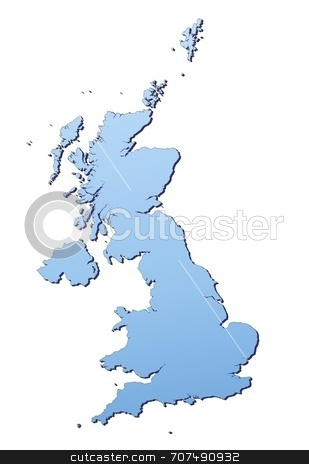 Map illustration of United Kingdom stock photo, United Kingdom map filled with light blue gradient. High resolution. Mercator projection. by Jiri Moucka