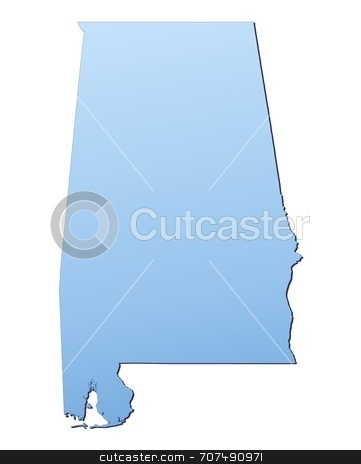 Map illustration of Alabama stock photo, Alabama(USA) map filled with light blue gradient. High resolution. Mercator projection. by Jiri Moucka