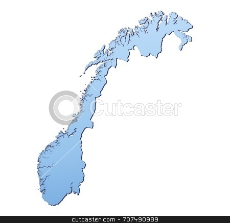 47fd1e61dd2ab stock photo, Norway map filled with light blue gradient. High resolution. Mercator projection. by Jiri Moucka