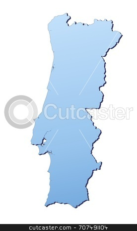 Map illustration of Portugal stock photo, Portugal map filled with light blue gradient. High resolution. Mercator projection. by Jiri Moucka
