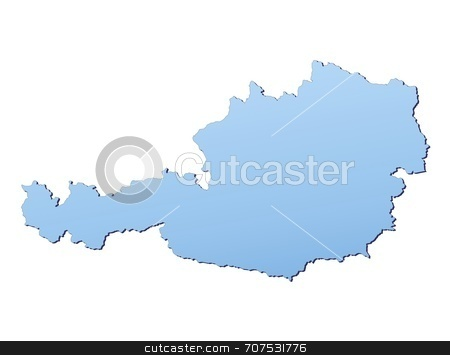 Map of Austria stock photo, Austria map filled with light blue gradient. High resolution. Mercator projection. by Jiri Moucka
