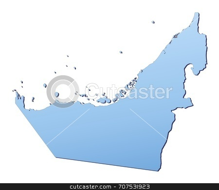 United arab emirates map stock photo, United Arab Emirates map filled with light blue gradient. High resolution. Mercator projection. by Jiri Moucka