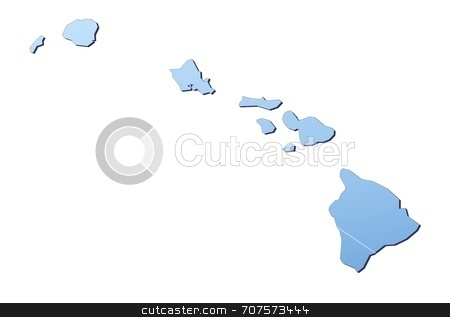 Map of Hawaii stock photo, Hawai map filled with light blue gradient. High resolution. Mercator projection. by Jiri Moucka