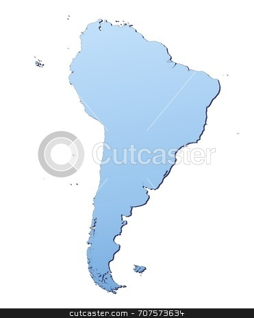 Map of South America stock photo, South America map filled with light blue gradient. High resolution. Mercator projection. by Jiri Moucka