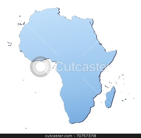 Map of Africa stock photo, Africa map filled with light blue gradient. High resolution. Mercator projection. by Jiri Moucka