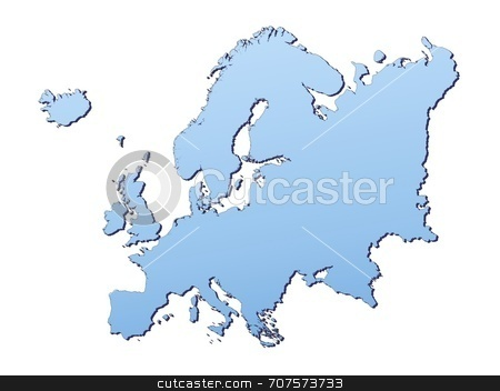 Map of Europe stock photo, Europe map filled with light blue gradient. High resolution. Mercator projection. by Jiri Moucka