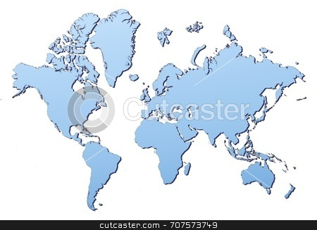 World Map stock photo, World map filled with light blue gradient. High resolution. Mercator projection. by Jiri Moucka