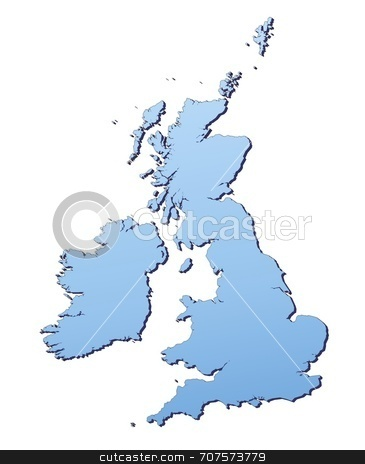 Map of Great Britain stock photo, Great Britain map filled with light blue gradient. High resolution. Mercator projection. by Jiri Moucka