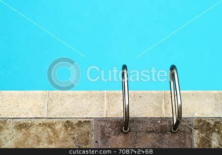 Handles stock photo, Pool with still clear water and handles by Henrik Lehnerer