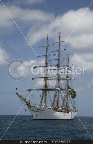 White Sail Ship stock photo, The