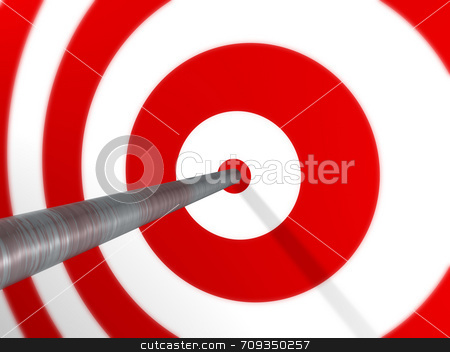 Arrow on Target stock photo, A 3D image render of an arrow, spot on, on a red target. by Daniel Wiedemann