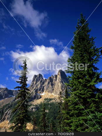Liberty Bell Mtn stock photo, Liberty Bell mountain in the Okanogan National Forest in Washington State. by Mike Norton