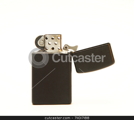 Black Lighter stock photo, A black, open lighter on a white background. by Daniel Wiedemann