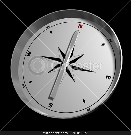 Outside of a Compass stock photo, A compass pointing North, isolated on a black background. by Daniel Wiedemann