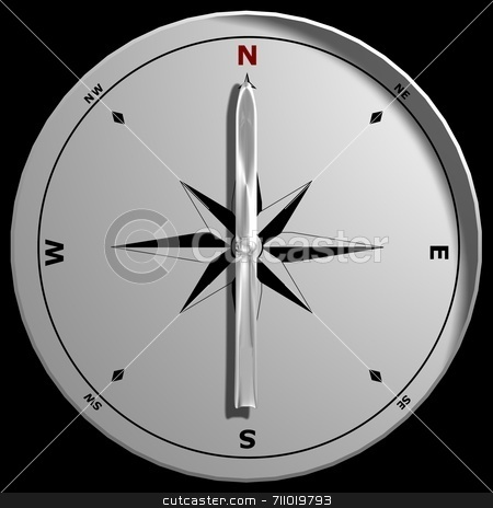Top View of a Compass stock photo, A compass pointing North, isolated on a black background. by Daniel Wiedemann