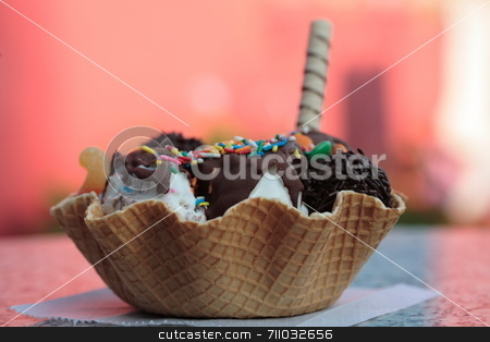 Ice Cream stock photo, A great, large, colorful icecream with a colorful background. by Daniel Wiedemann
