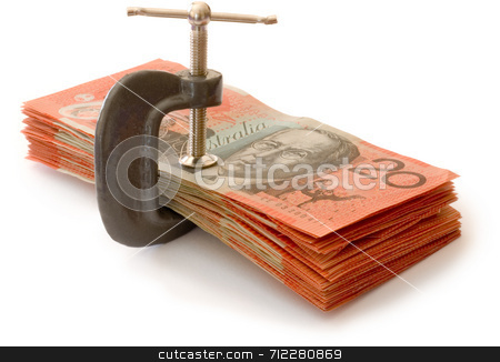 Money press stock photo, Australian banknotes in a g-clamp, metaphore for restriction on spending by Stephen Gibson