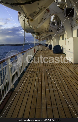 Ship Deck stock photo, An outside ship deck with lifeboats. by Daniel Wiedemann