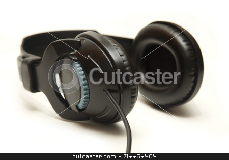 Headphones stock photo, A large pair of headphones, isolated on a white background. by Daniel Wiedemann