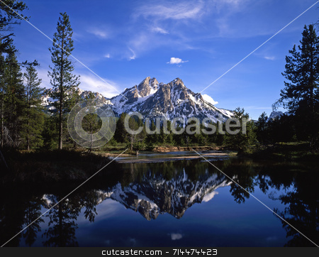 Mt. McGown Reflection stock photo, Mt. McGown in the Sawtooth National Forest of Idaho. by Mike Norton