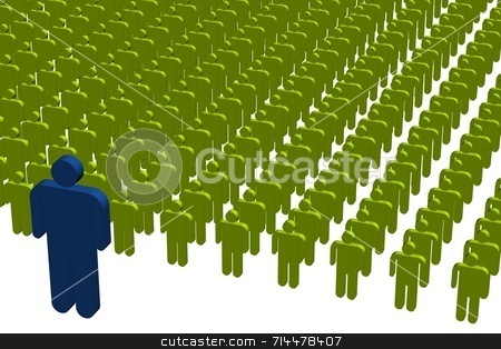 Male Leadership stock photo, A concept image of workers. A blue leader in front of a green crowd. by Daniel Wiedemann