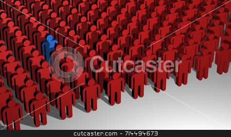 Odd One Out stock photo, A 3D image of lines of little red people with on standing out from the crowd. by Daniel Wiedemann