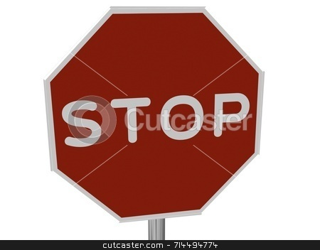 STOP Sign stock photo, A red, traffic, STOP sign, made on a 3D rendering software.  (isolated on white) by Daniel Wiedemann
