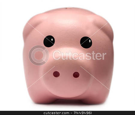 Piggy Bank stock photo, A cute piggy bank isolated on a white background. by Daniel Wiedemann