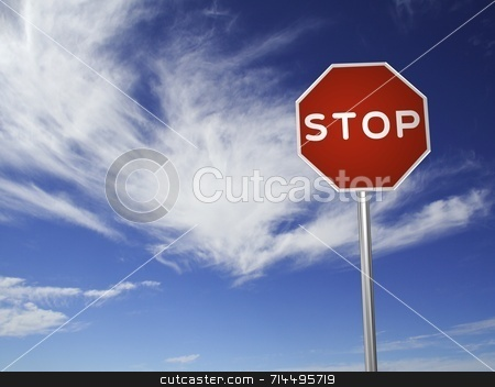 STOP Sign stock photo, A red, traffic, STOP sign, made on a 3D rendering software.  (with a sky background) by Daniel Wiedemann