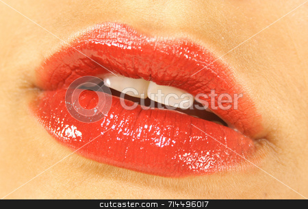 Juicy Red Lips stock photo, The perfect red lips, waiting to be kissed! by Daniel Wiedemann