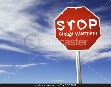 STOP Global Warming sign stock photo, A red