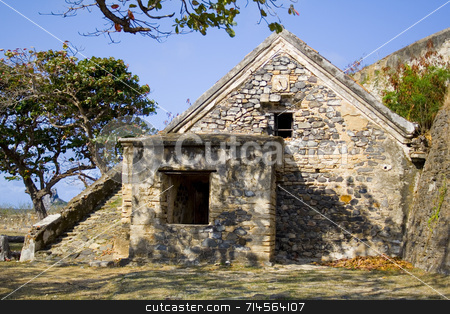 World War II Shelter stock photo, This is an abandoned WWII shelter in a paridisiac island (Fernando de Noronha) off the coast of Brazil. by Daniel Wiedemann