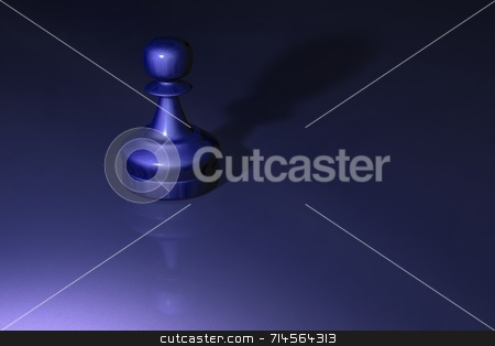 Chess Pawn stock photo, A metalic chess piece (pawn) on a shiny table top. by Daniel Wiedemann