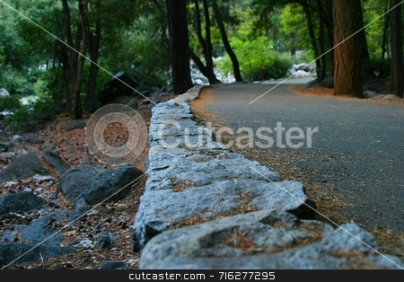 Yosemite Walk Way stock photo, Walkway up and from the Yosemite Falls. Different perspective. by Henrik Lehnerer