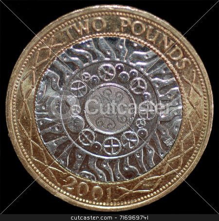 A British 2 Pound Coin stock photo, A close-up of a UK 2 pound coin. by Philippa Willitts