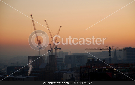City of Cranes stock photo, An urban cityscape of industry by Philippa Willitts