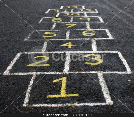 Hopscotch stock photo, A traditional European child's hopscotch game by Philippa Willitts