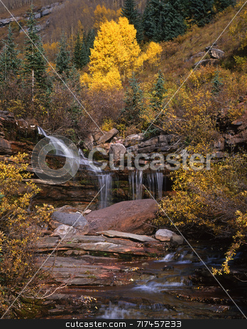 San Juan Forest Waterfall stock photo, A small waterfall in the San Juan National Forest, Colorado. by Mike Norton