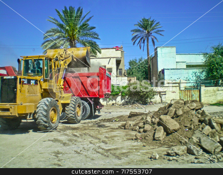 Iraq Construction stock photo, Dumper truck clearing an Iraqi street by Stefan Edwards