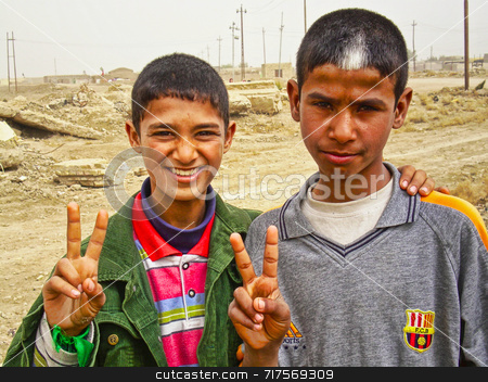 Iraqi Hope stock photo, Two Iraqi children giving the V sign for victory by Stefan Edwards